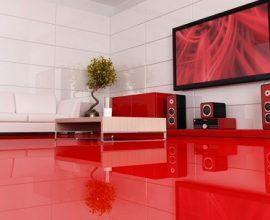 Porcelanato líquido vermelho em sala