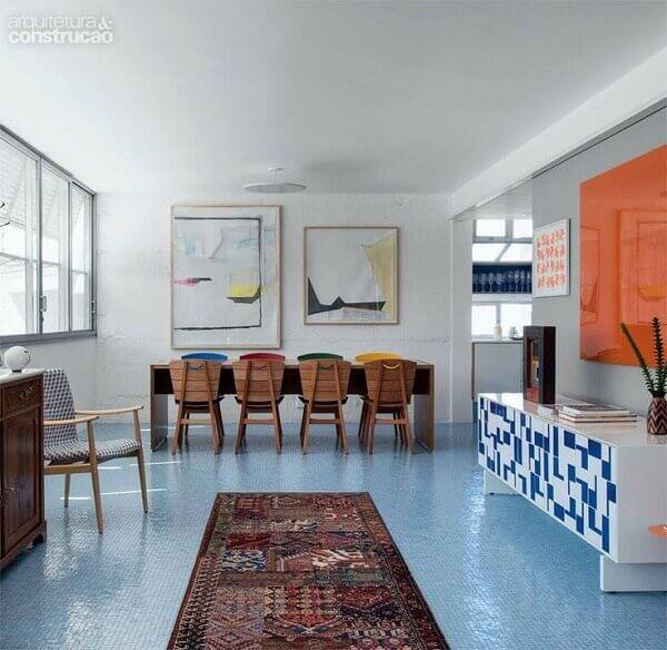 Porcelanato liquido piso azul