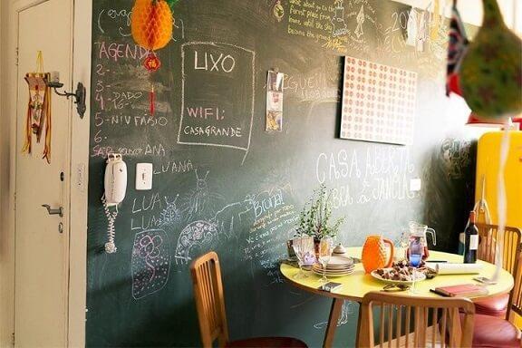 Sala de estar com parede chalkboard com recados e desenhos decorativos Projeto de Casa Aberta