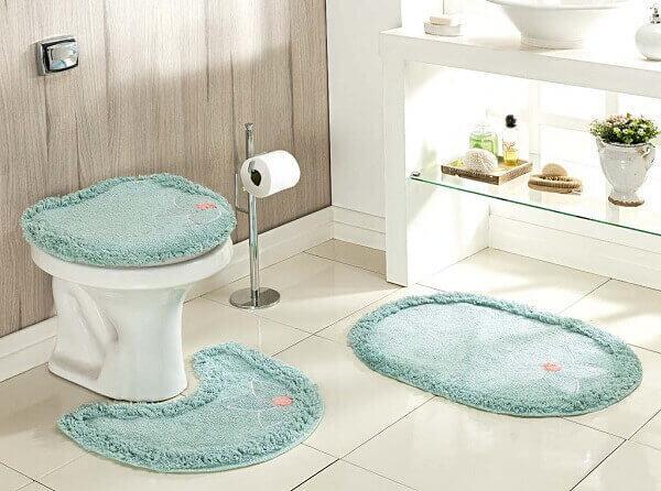 Tapete para banheiro azul turquesa