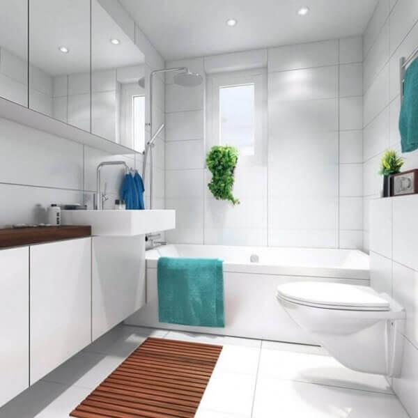 Tapete para banheiro de madeira