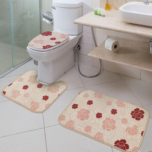 Tapete para banheiro estampado conjunto