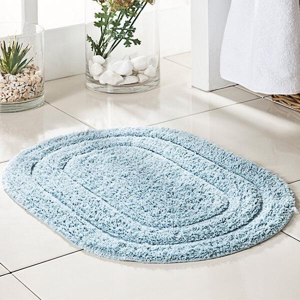 Tapete para banheiro redondo azul