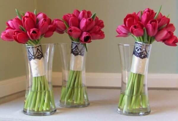Tulipa rosa para decoração de festa