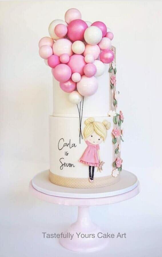 bolo de aniversário decorado dois andares todo rosa Foto Tastefully Yours Cake Art