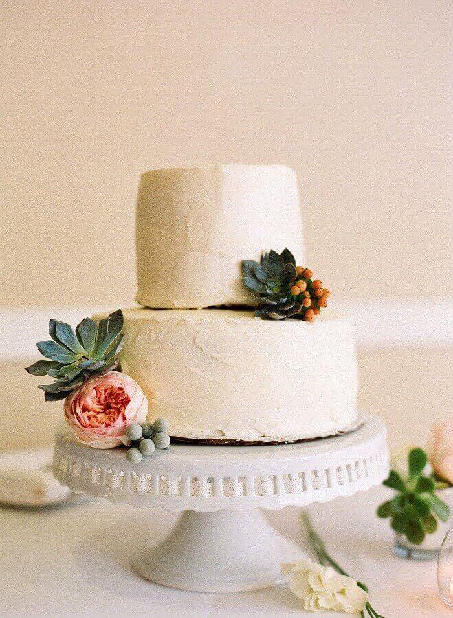 bolo de noivado simples e rústico decorado com suculentas Foto Kreativ Welt