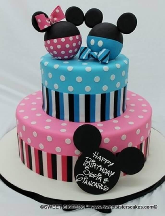 bolo decorado do mickey azul e rosa Foto Baby Shower