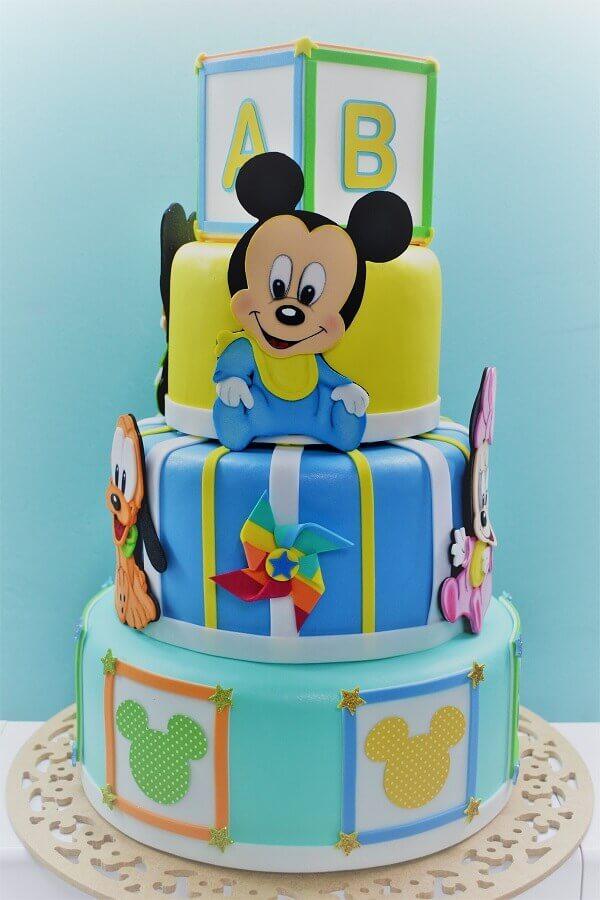 bolo decorado do mickey baby e sua turma Foto Fazer em Casa