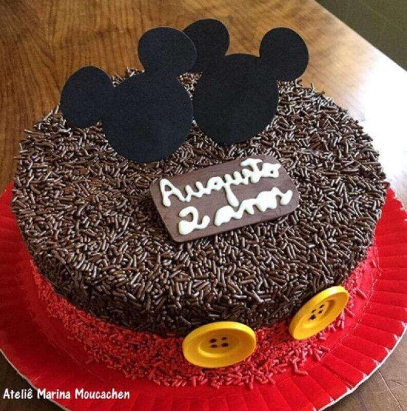 bolo decorado do mickey para festa de aniversário simples Foto Ateliê Marina Moucachen