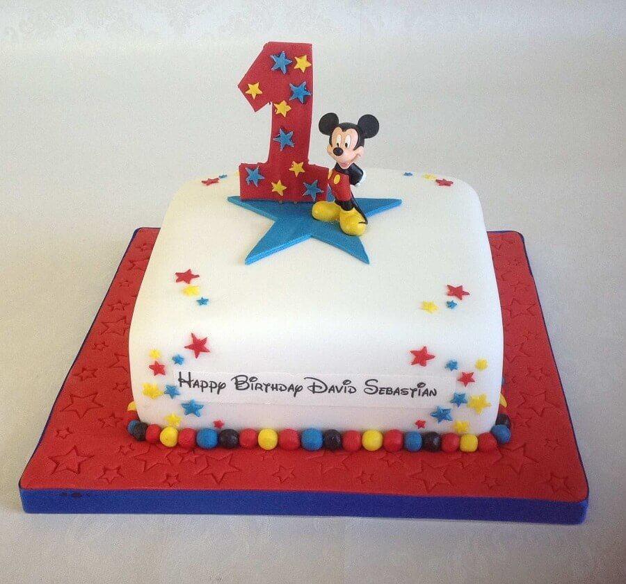 bolo decorado do mickey simples Foto Pinosy