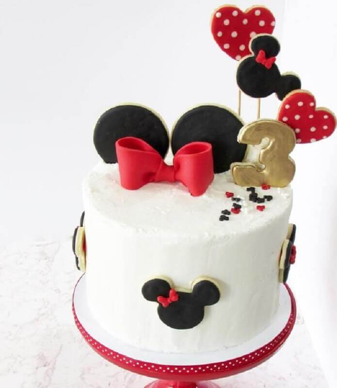 bolo simples decorado do mickey e minnie Foto Pinterest