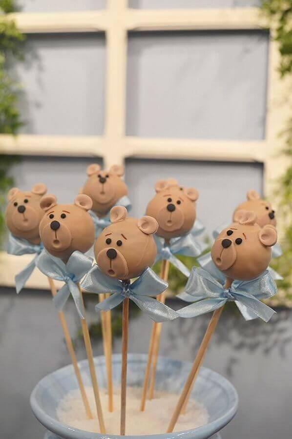 cake pop de ursinho como lembrancinhas para chá de bebê  Foto Constance Zahn