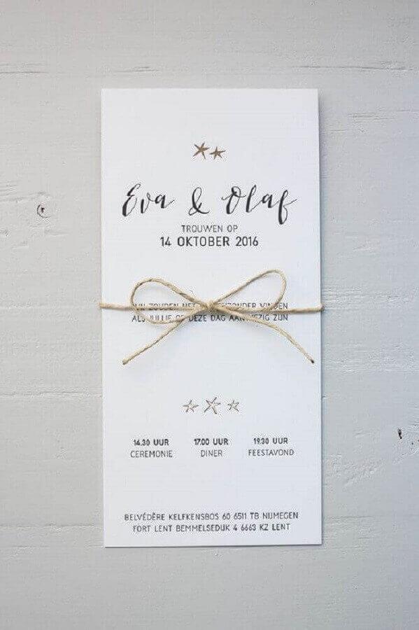 convite de noivado simples com laço de barbante Foto Pinterest