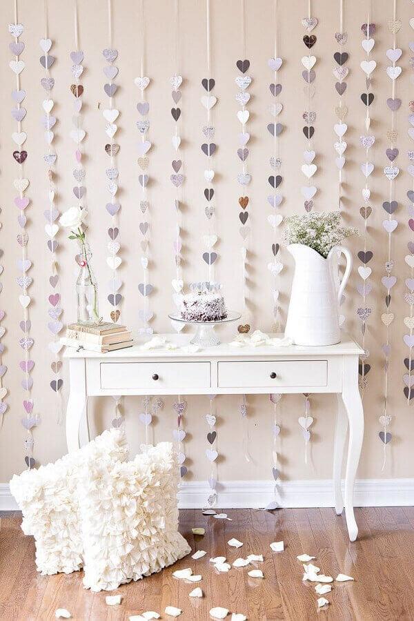 cortina de coração para decoração de noivado simples Foto Yandex