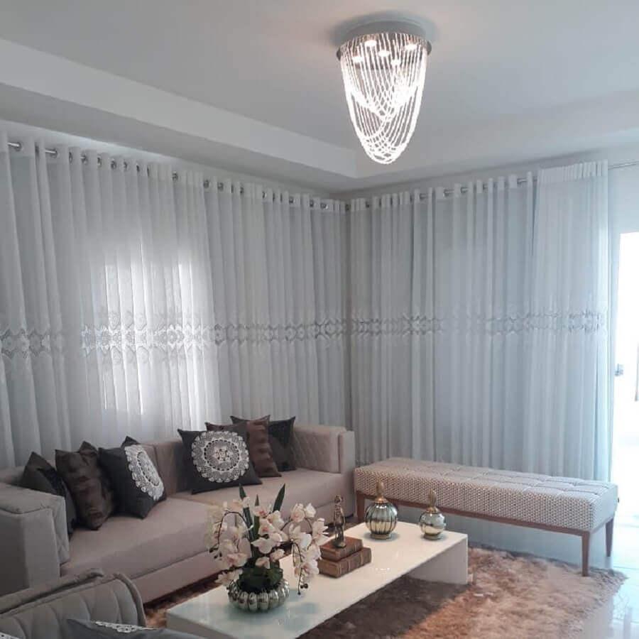 decoração com lustre de cristal para sala Foto Arqui Decor PB