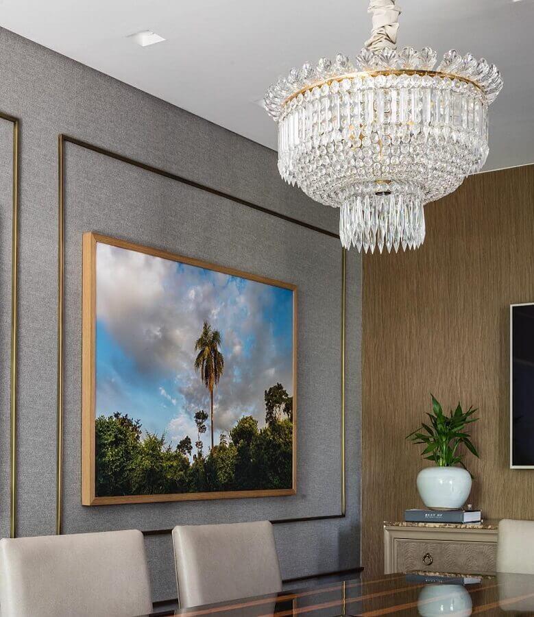decoração com lustre pendente cristal para sala de jantar Foto In House Designers