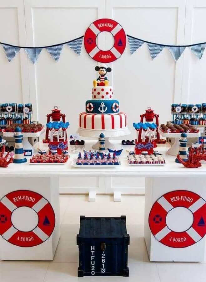 decoração de aniversário do mickey marinheiro Foto Pinterest