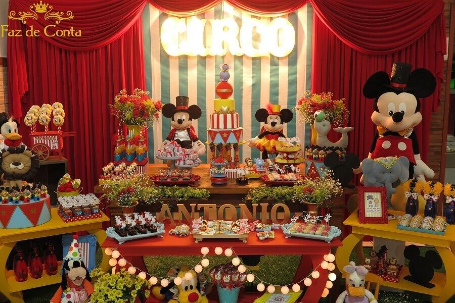 decoração de aniversário do mickey no circo Foto Faz de Conta Artesanato e Decoração