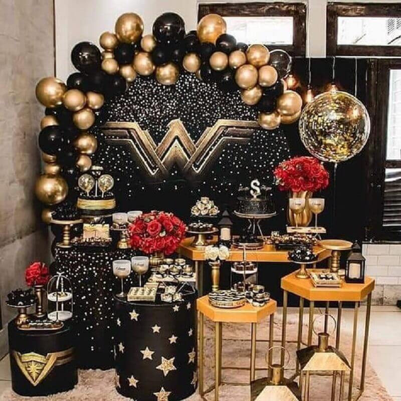 Wonder Woman Black and Gold Theme Girls Birthday Decoration Photo Inspire Your Party