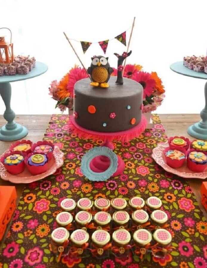 decoração de aniversário menina com tema corujinha Foto Just Real Moms