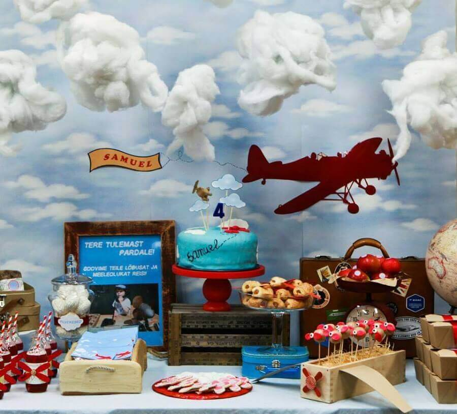decoração de aniversário menino com tema aviador Foto Catch my party