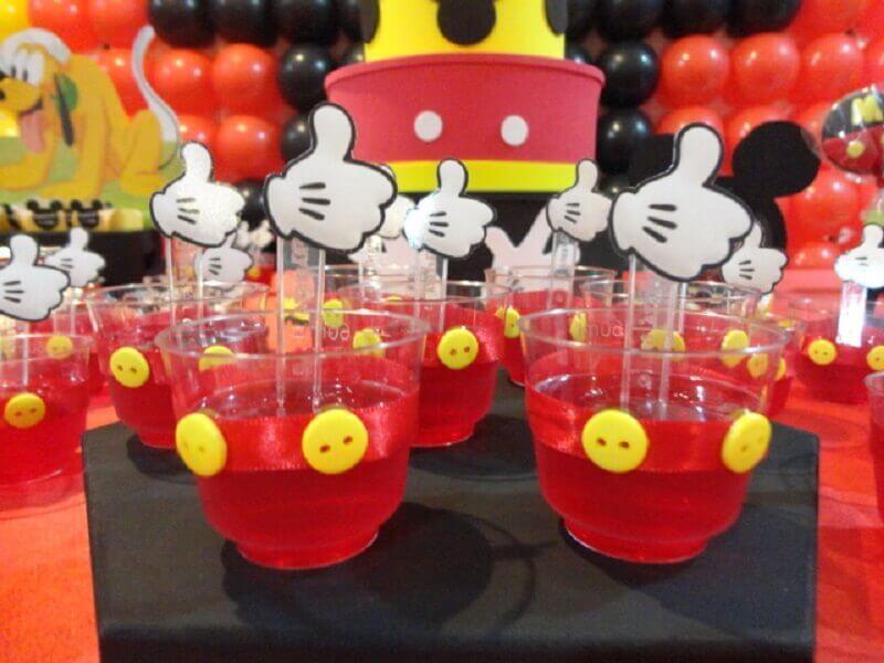 decoração do mickey com gelatina em potinhos personalizados Foto Estou Crescendo