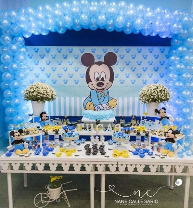 decoração mickey baby para festa toda azul Foto Nane Callegario