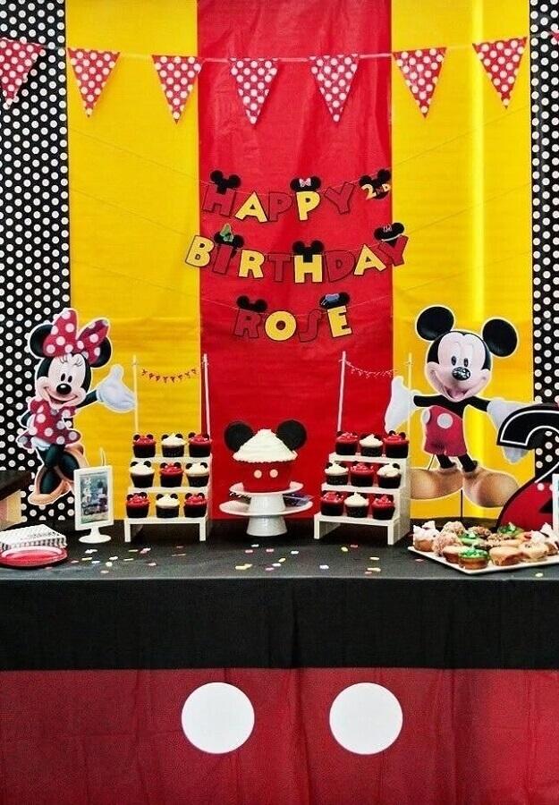 decoração mickey e minnie vermelho preto e amarelo Foto Pinteres