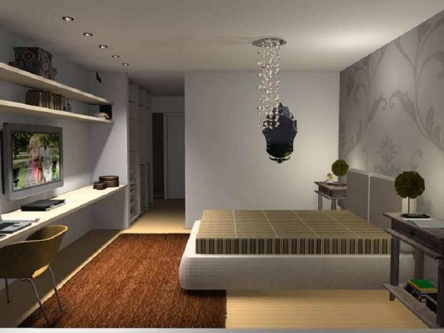 decoração moderna com lustre pendente cristal para quarto de casal Foto Simone Couto