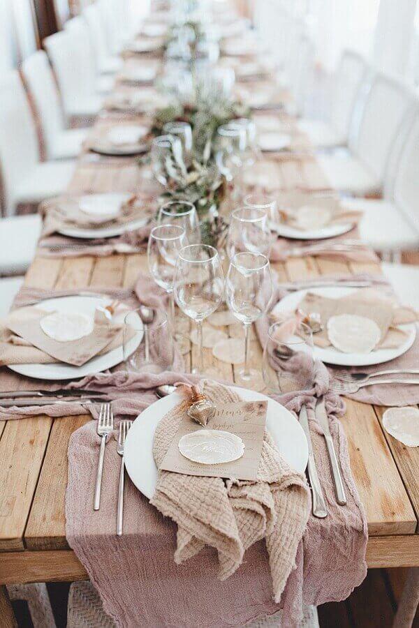 decoração rústica para mesa de convidados em noivado simples Foto Wedding Day Life