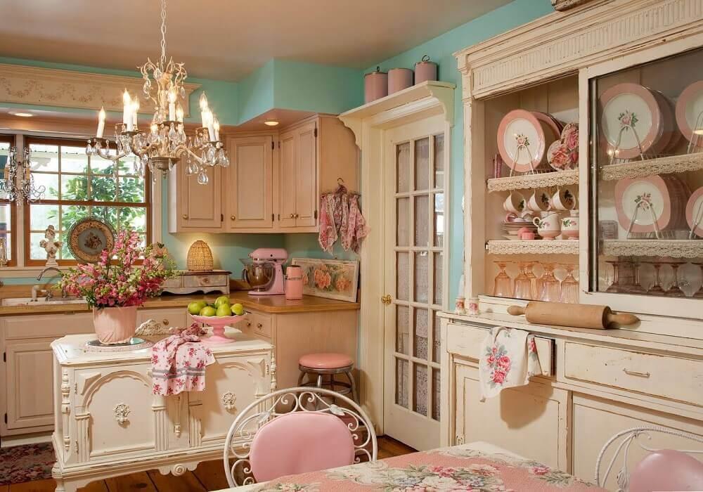 decoração shabby chic para cozinha em tons pastéis