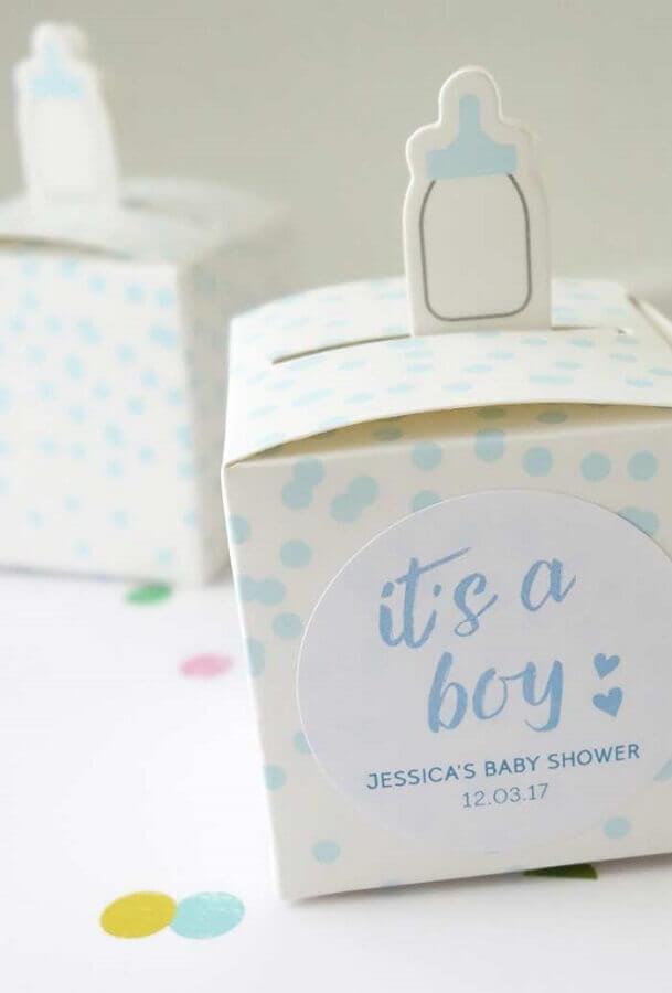 embalagem de lembrancinha chá de bebê menino Foto Pinterest
