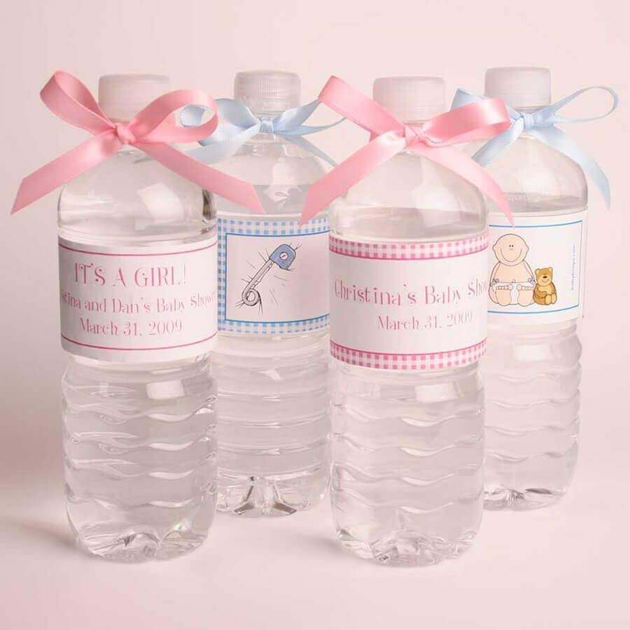 garrafinhas de água com rotulo personalizado para lembrancinhas para chá de bebê  Foto DecoRelated