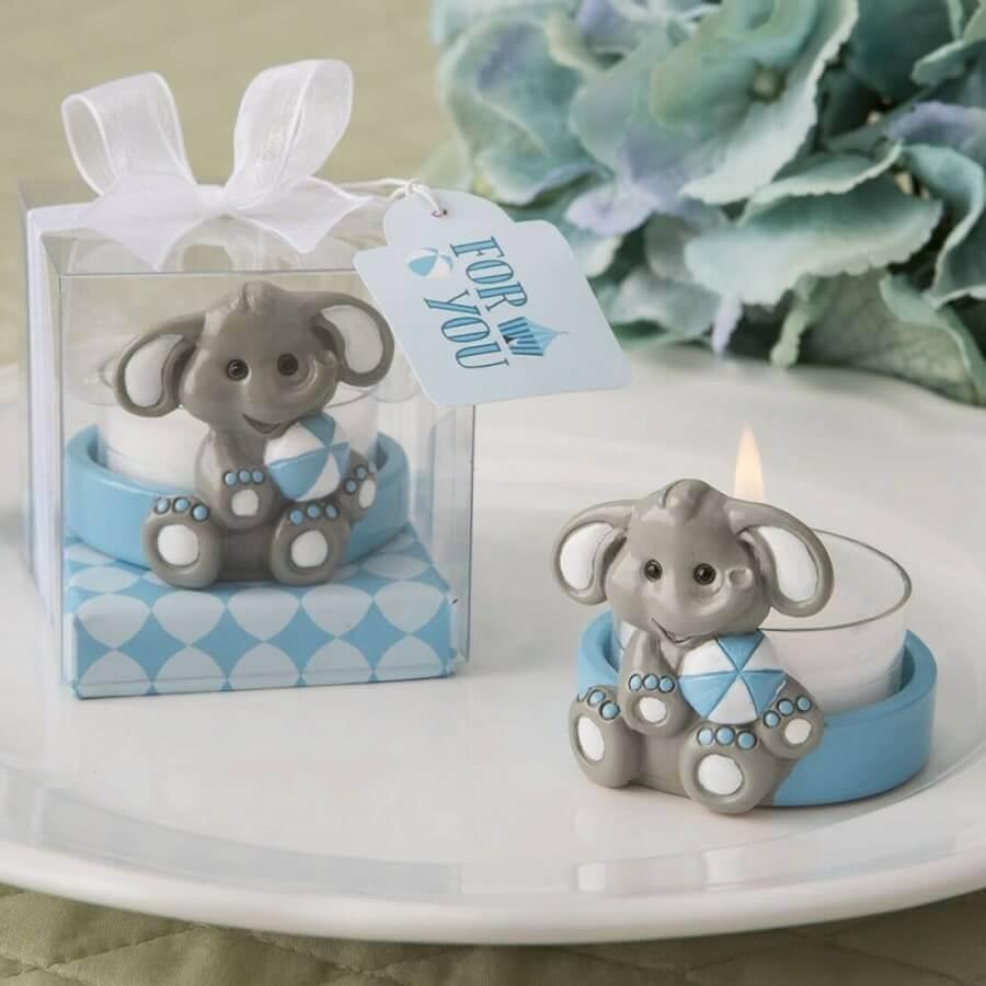 lembrancinha chá de bebê criativo com vela personalizada com suporte de elefantinho Foto Party Fairy Box