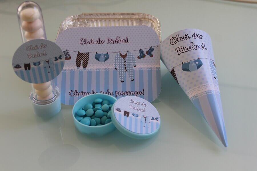 lembrancinha chá de bebê menino com marmitinha de doces personalizada Foto Wish Papers Personalizados