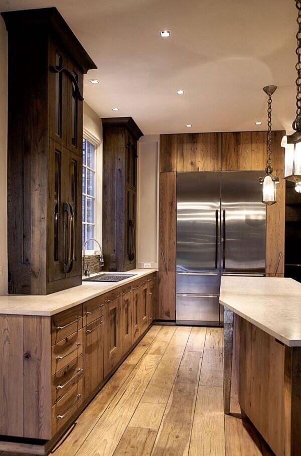 marrom em cozinha rústica