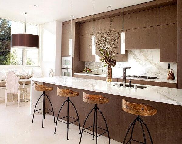 marrom na decoração de cozinha