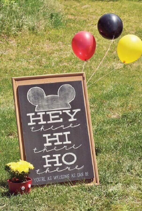 placa decorada para decoração de aniversário do mickey Foto 321achei
