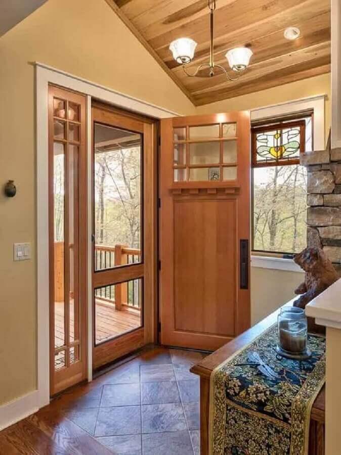 porta de entrada de madeira simples Foto Pinterest