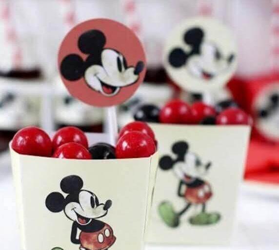 potinhos de doces personalizados para decoração festa infantil mickey simples Foto DIY Party Decor