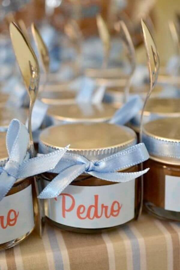 potinhos de doce para lembrancinha chá de bebê menino Foto Ateliê Donna Cyn