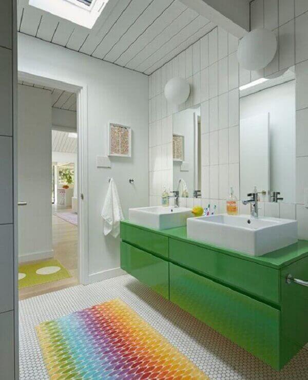 tapete para banheiro bancada verde