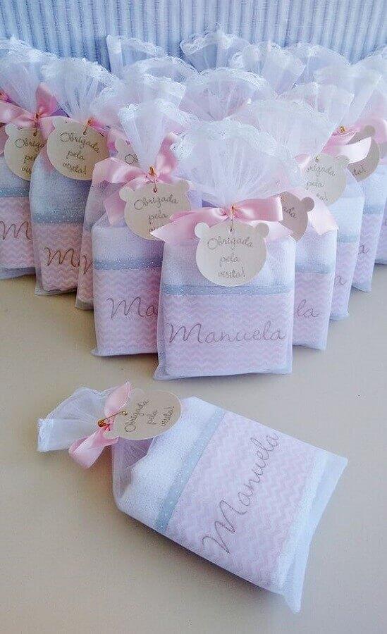 toalhinha personalizada para lembrancinha chá de bebê menina Foto Ateliê da Tuta
