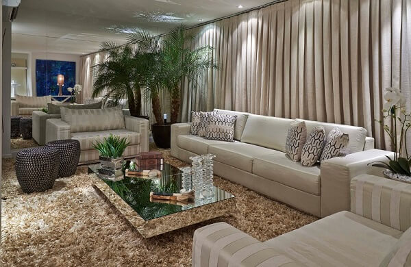 As plantas para sala equilibram o visual do ambiente em tons pasteis