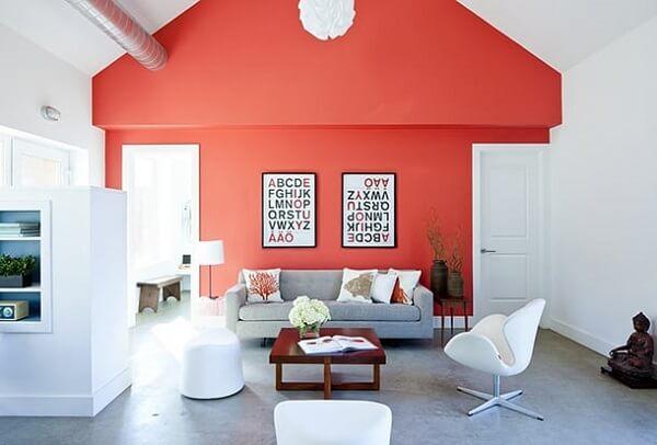 Cor salmão da decoração de sala requintada