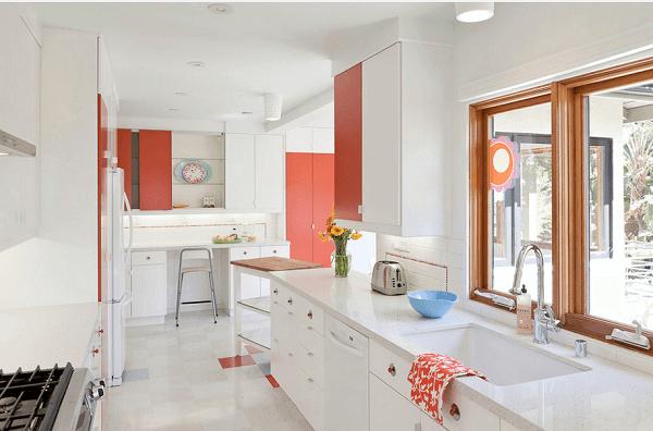 Cor salmão em cozinha