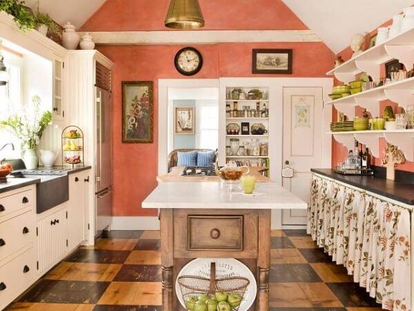 Cor salmão na decoração da cozinha
