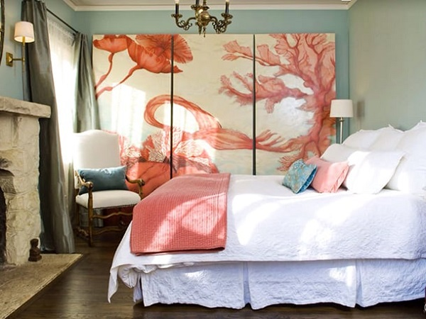 Cor salmão na decoração de quarto de casal