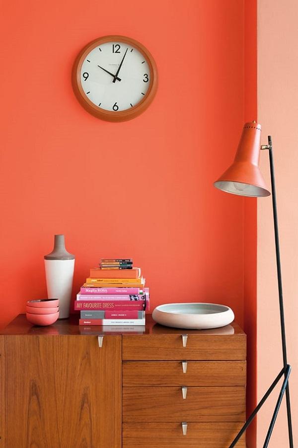 Cor salmão na parede de quarto
