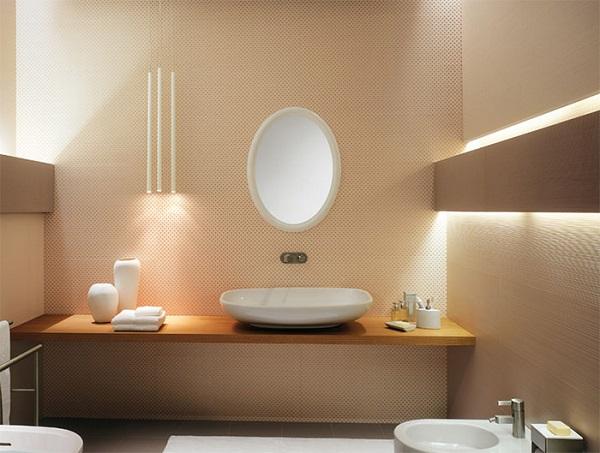 Cor salmão no banheiro com iluminação